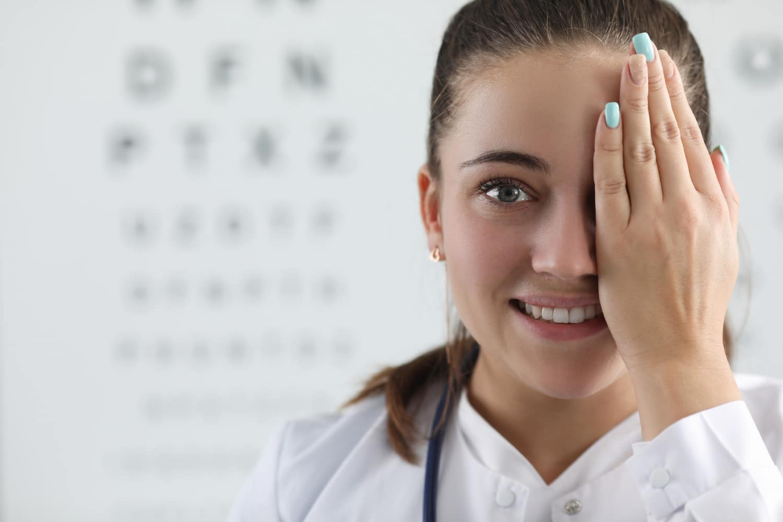Woman at the optometrist